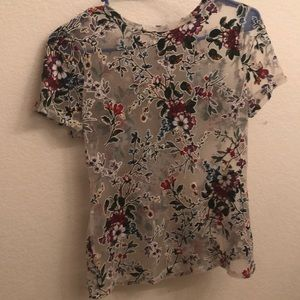 Tops - Sheer floral top